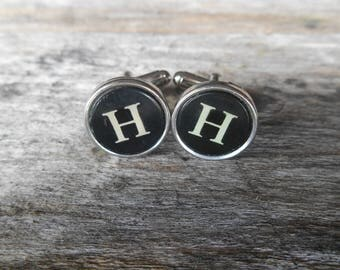 "Vintage Typewriter Key Cufflinks 'H H' The Letter H, Initial H, Black and Silver 5/8"" (15mm) Steampunk, Writer, Literary, Wedding, Prom"