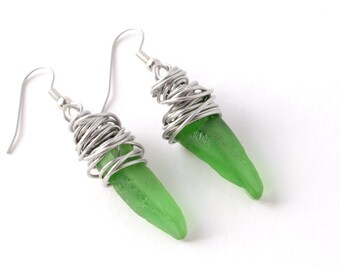 Stainless Steel Wire Wrapped Rhode Island Green Sea Glass Earrings on Your Choice of Surgical Stainless Steel or Sterling Silver Ear Wires