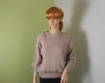 Light Brown Women's Sweater -  Keneth Too With Padded Shoulders - 1980s - Size Medium - Free US Shipping