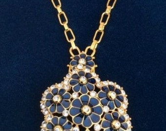 Jackie Kennedy Grand Tour Necklace - 24K GP Pin Pendant Navy Blue, Box and COA