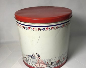 Vintage Tin Red White and Blue Cannister with Courting Couple Picket Fence Park Bench