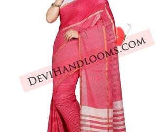 Dark pink Color Mangalagiri Cotton Saree with Blouse