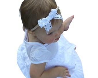 Baby Bow Headband, White Headband, Baby Girl Headpiece, Bow Headband, Baby Girl Headband, Hair Accessories