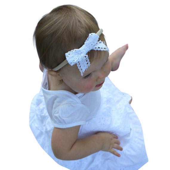 Baby Bow Headband, White Headband, Baby Girl Headpiece, Bow Headband, Baby Girl Headband, Hair Accessories