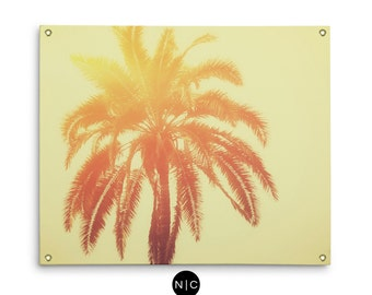 Golden Palm - Wall Tapestry, Yellow Ombre Palm Tree Art, Boho Chic Beach Surf Coastal Interior Decor Hanging. In Small Medium and Large Size