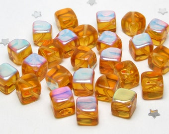 Diagonal Hole Czech Glass Square Cube Bead 7mm x 6mm - Topaz Dark Yellow Aurora Borelais AB  - 25 beads - Sunset, Autumn Gold, Butterscotch
