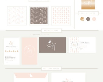 FULL BRANDING PACKAGE includes businesscards letterhead stationary Little Butterflies-  Feminine Watercolor Design Branding Logo  watermark