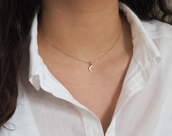 Tiny Rose Gold Moon Necklace, Rose Gold Necklace, Gift for Her