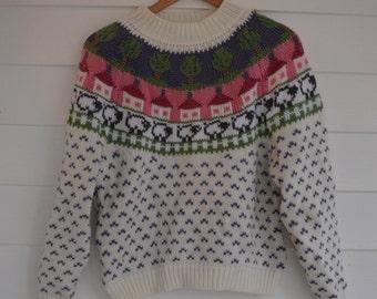 SALE Vintage European Village Knit Sweater