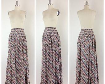 40s Taffeta Floor Length Skirt / 1940s Vintage Plaid Print Full Skirt / Medium / Size 6