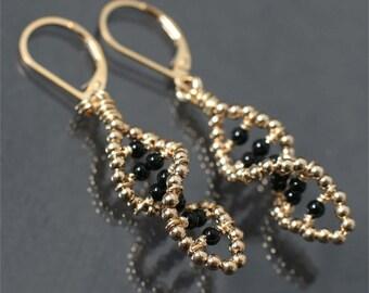 beaded statement earrings black onyx 14k gold filled drop earrings modern jewelry black & gold earrings black stone earrings spiral earrings