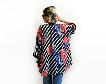 Rose Kimono, Black and White Striped Kimono Cardigan, Vacation Kimono, Summer Kimono Cover Up, Floral Kimono, Boho Chic Kimono / Last one!!