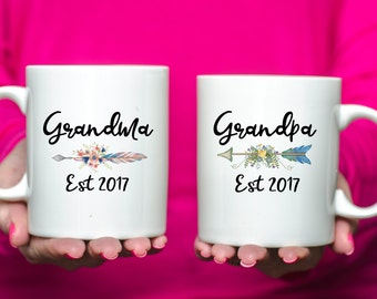 Pair of Grandma and Grandpa Mugs/Anniversary/Birth Announcement/Gift