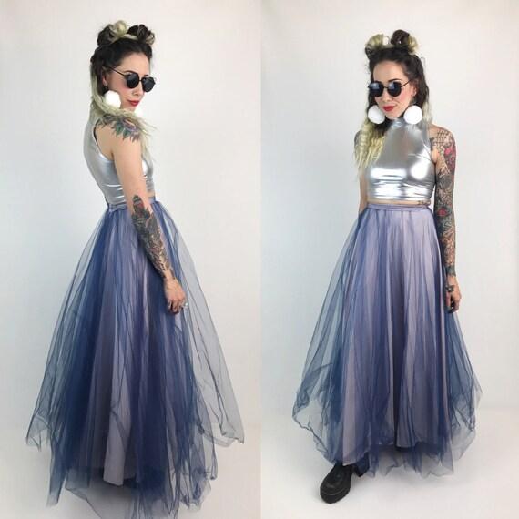 Handmade High Waist Tulled Maxi Skirt- XS Prom Skirt Bottom - Pink Blue Mesh Cotton Candy Maxi Skirt - Girly Prom Mesh Vtg Skirt Layer XS 25