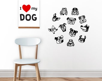 Dogs wall decal / dogs wall sticker / gift for dog lovers / dogs / wall sticker / kidsroom decor / removable sticker / black and white