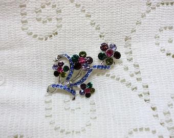 Vintage Floral Rhinestone Brooch Pin Dark Jewel-Tone Colors