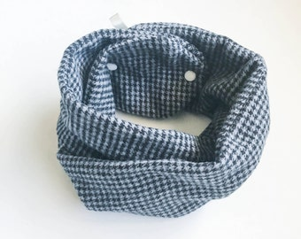 Faux Infinity Scarf   Baby   Toddler   Grey and Black Houndstooth