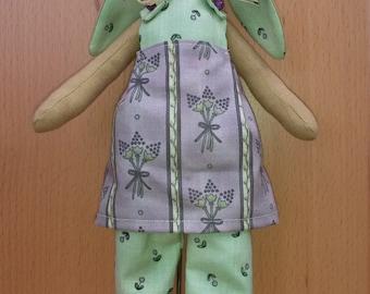 Rabbit in Lilac green dress