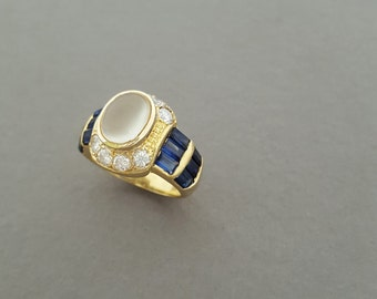 Stunning Vintage Art Deco / Victorian Style 18K Gold, Moonstone, Diamond and Sapphire Baguette Cocktail Ring