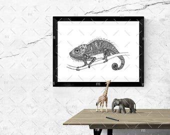 Chillmeleon Chameleon Lizard Black and White A4 print