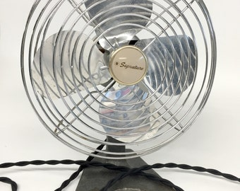 Antique Desk Fan, Signature Fan, Industrial Desk Fan, Mid Century Fan, Vintage Industrial Fan, Retro Desk Fan, Adjustable Fan, Silver Fan