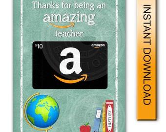 Teacher Appreciation Printable Amazing Teacher Chalkboard Amazon Gift Card Holder - Digital Instant Download