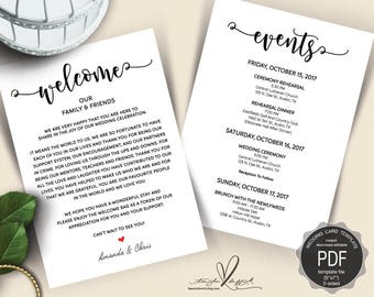 Wedding Welcome and Itinerary card, editable PDF template, Timeline card, Wedding weekend, welcome bag, welcome box, rustic theme (TED422_5)
