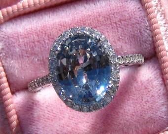 GIA Certified Gray Sapphire Engagement Ring, 3.6 Carat Greyish Blue Ceylon Sapphire  in White Gold Diamond Halo Engagement Ring