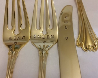 3pc. 2 Gold Wedding Forks & 1 Knife New VTG 24K Gold Plated Hand Stamped bit wonky King Queen forks. 201? knife Actual photos Gold flatware
