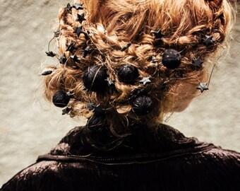 Valentine gift - yarn ball hair pin set - hair pin set - bohemian headpiece - romantic hair accessory