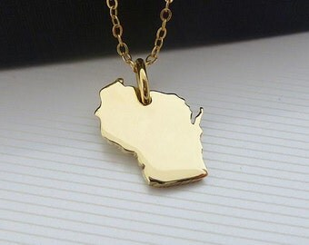 14K Gold Plated Wisconsin Necklace - Wisconsin State Necklace - Wisconsin Map Necklace - Yellow Gold Necklace - Love Wisconsin  Necklace