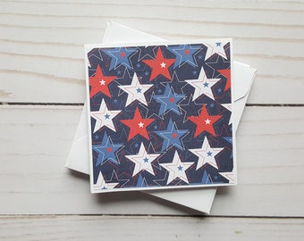 Stars Mini Cards, Enclosure Cards, Blank Military Cards, Small Flag Note Cards, Patriotic Cards, Independence Day, Set of 4