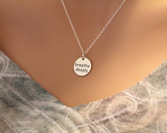 Sterling Silver Yoga Charm Necklace, Breathe Deeply Yoga Necklace, Breathe Deeply Yoga Pendant Necklace, Breathe Deeply Necklace, Style #A20