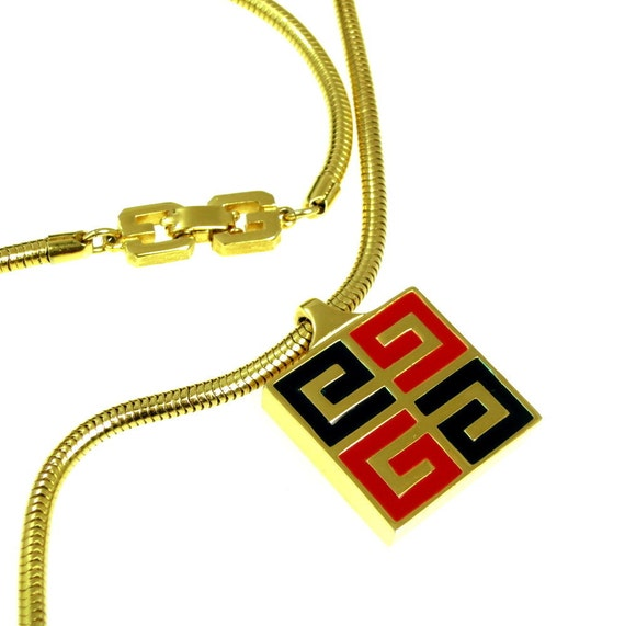 Vintage Givenchy Logo Necklace Designer 1977 Double G Red Black Enamel Pendant Gold Plated with Snake Chain