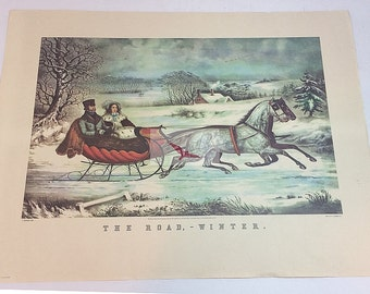 Currier and Ives Lithograph The Road Winter Horse Drawn Sleigh by Columbus Bank Note Lithographers Early American via Soaring Hawk Vintage
