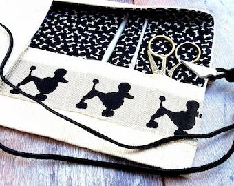 DOG CROCHET CASE Hook Needle Holder Cover Organiser Bobbin Lace Tools Roll Natural Black Ivory Cotton Linen Canvas Leather Handmade Gift