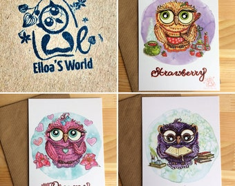 3 Cards with Owls - project Owl Delicious Stories, paper cards, paper prints, 3 OWLS : Mr. Book Lover, Mrs. Strawberry, Miss Dreamy
