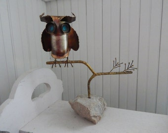 Curtis Jere' Brutalist Owl Sculpture of Raw Metal - Signed & Dated by C Jere' - Mid Century Modern Brutalist Sculpture - Signed Curtis Jere'