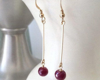 Long Ruby Earrings-July Birthstone-My Wife Perfect Gift-5th Anniversary-Sexy Earrings For Me-Evening Earrings-Sexy Jewelry For Her-40th Gift