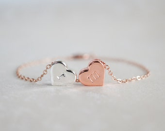 Custom 2 Heart Bracelet, Rose Gold, Silver, Meaningful, Personalized, 2 Sisters, Two Best Friends, Birthday Gift, Thank You, Mother Daughter