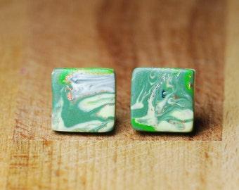 Polymer Clay Earrings - Green Marbled Studs - Hypoallergenic Earrings - Earrings For Sensitive Earrings - Stud Earrings - Fimo Jewellery -