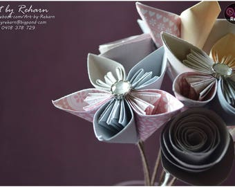 Paper Flowers - Bunch of 7 Flowers - Decor-flower with stem- pink - grey - cream