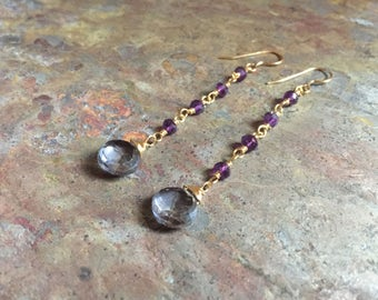 Amethyst and iolite gemstone gold dangle earrings