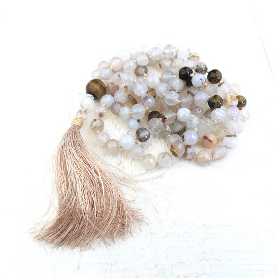Mala Beads For Concentration, Tiger Eye Mala Necklace, Creamy White Agate Mala, 108 Mala Bead Necklace, Solar Plexus Chakra Mala