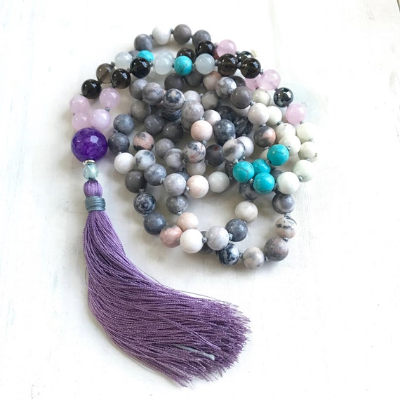 Mala Beads to Cleanse Negativity, Smoky Quartz, Pink Zebra Jasper, Moonstone Mala Necklace, Mixed Gemstone Mala, 108 Bead Mala Hand Knotted