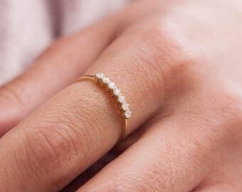 Diamonds Gold Ring, 7 Stone Diamond Ring, White diamonds Ring, Black Diamonds Ring, 7 diamonds ring, Gold Stacking Ring, Thin gold ring