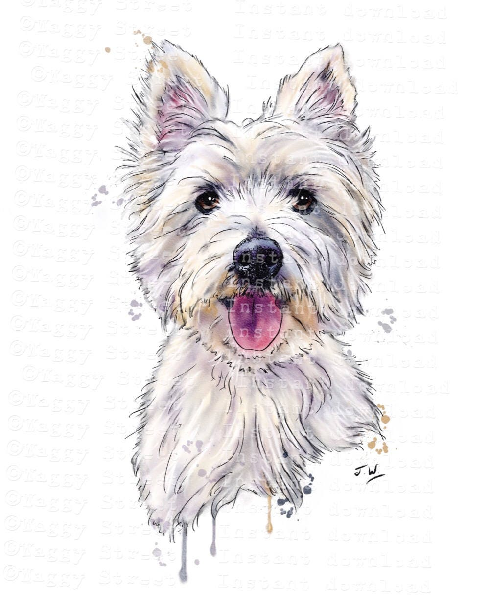Westie dog clipart instant download. Digital pen ink