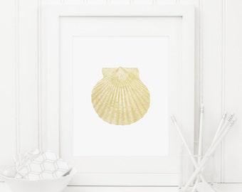 Shell Printable Scallop Seashell Print Nautical Wall Art Gold Nursery Decor Nautical Bathroom Wall Art Beach House Decor Gold Foil