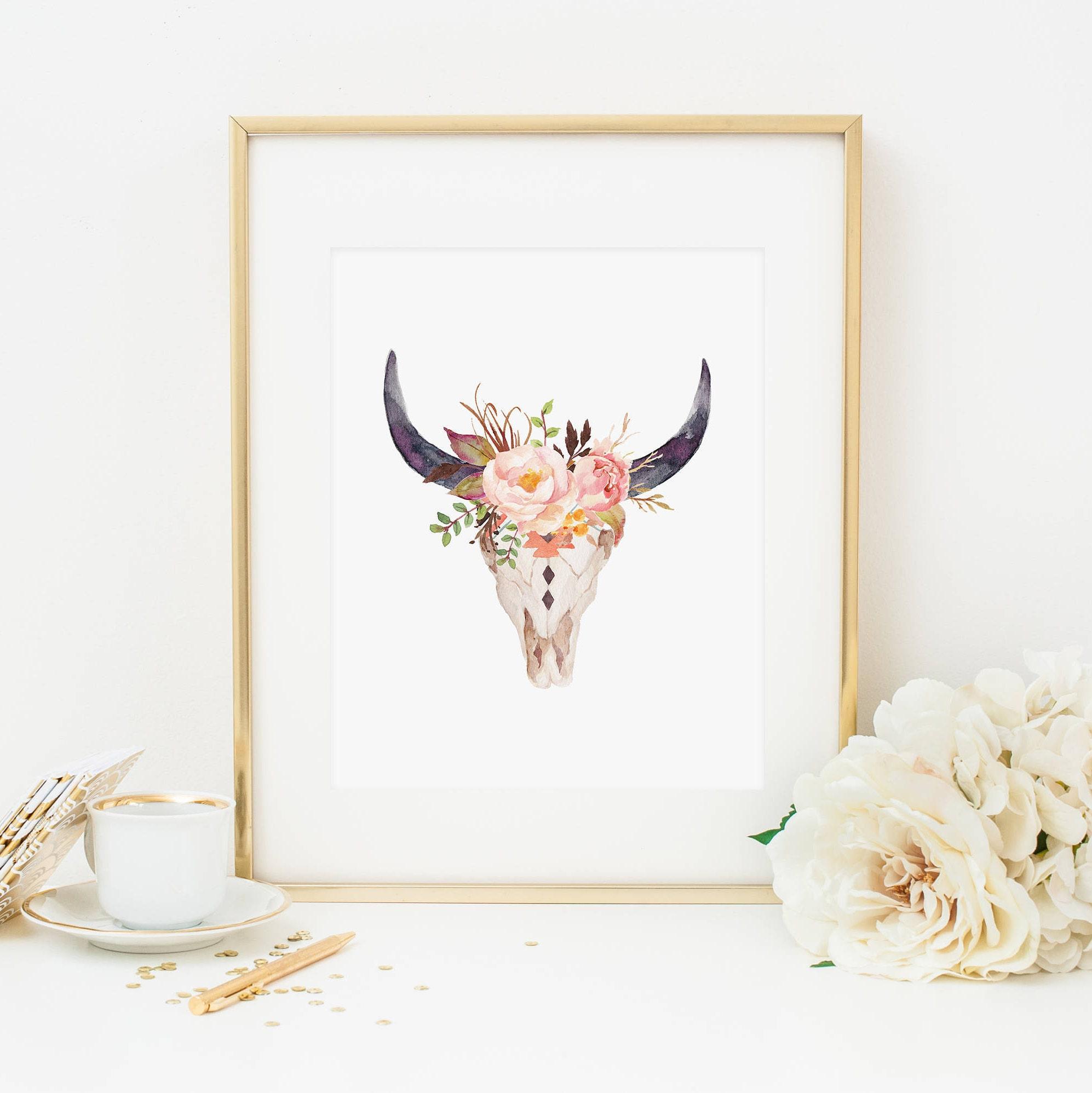 Skull Bedroom Accessories Bull Horns Etsy