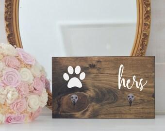 Hers Two Hook Key Holder and Dog Leash Holder, Entryway Organizer, Key Organizer, Wedding Gift, Housewarming Gift, Key Hooks, Leash Holder